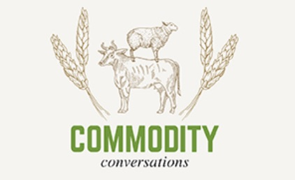 Commodity conversations podcast cover image, a illustration of a sheep standing on a cow's back with grain either side