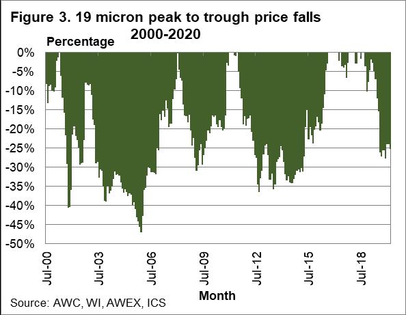 19 micron peak to trough price falls 2000-2020