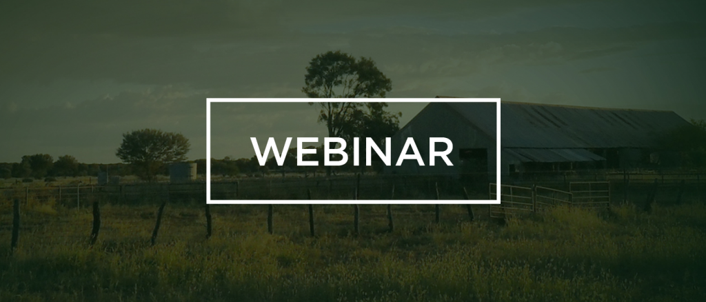 Webinar with an image of a farm faded in the background
