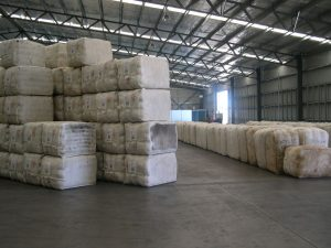 Bales of wool in shed