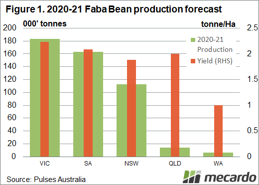 Fave Beans production and yield estimates