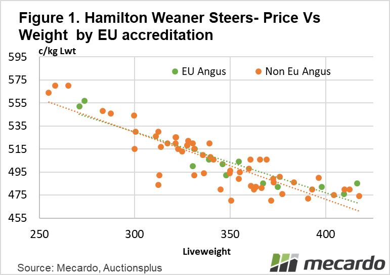 Hamilton weaner steers- price and weight by eu accreditation