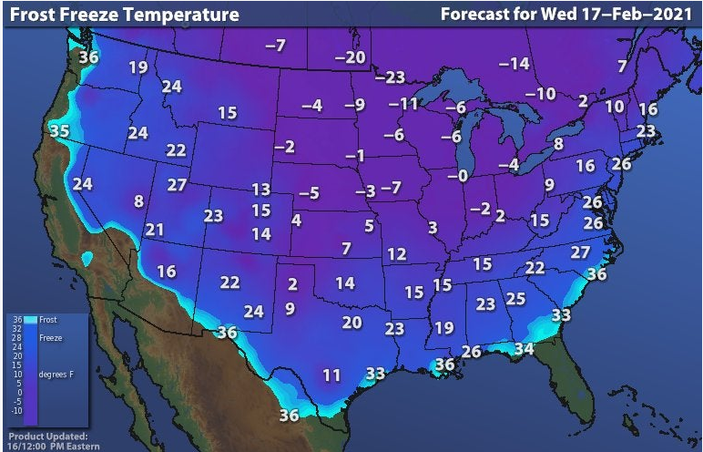 Frost freeze temperature forecast USA 17-02-2021