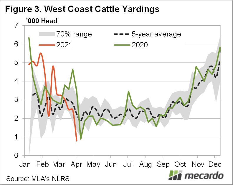 West coast cattle yardings