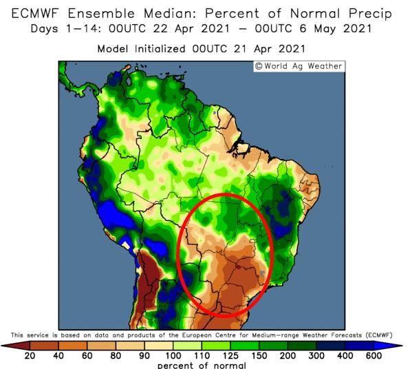 Rain outlook for Brazil