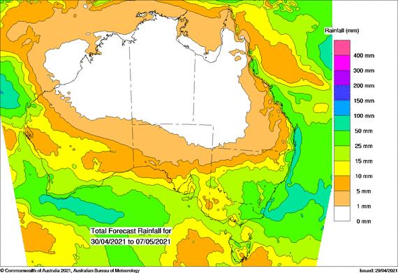 BOM 8 day rainfall forecast
