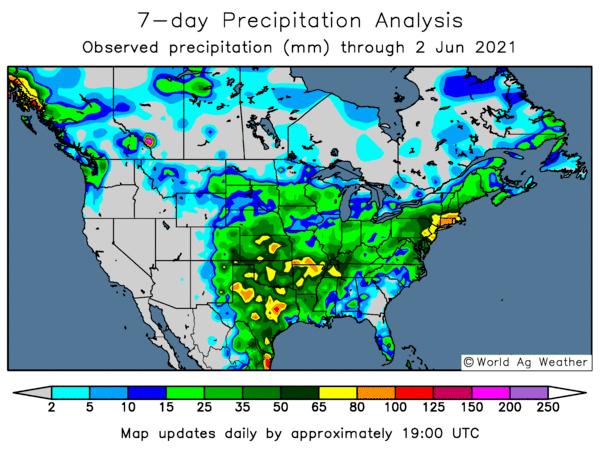 7 day observed precipitation North America