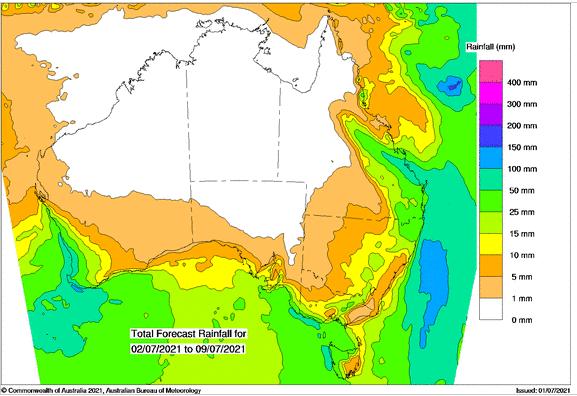 Bom rainfall forecast 8 day 2nd July 2021