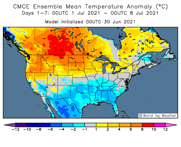 World Ag weather temperature anomaly