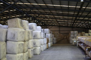Wool bales in a shed