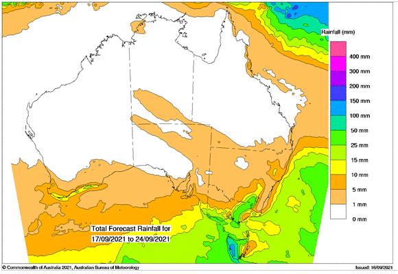 7 day rainfall outlook for Australia