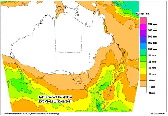 7 day rainfall outlook, Australia