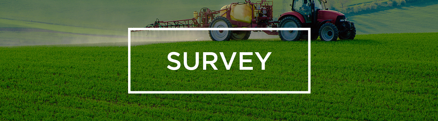 Survey- with image of tractor spraying a crop in the background.