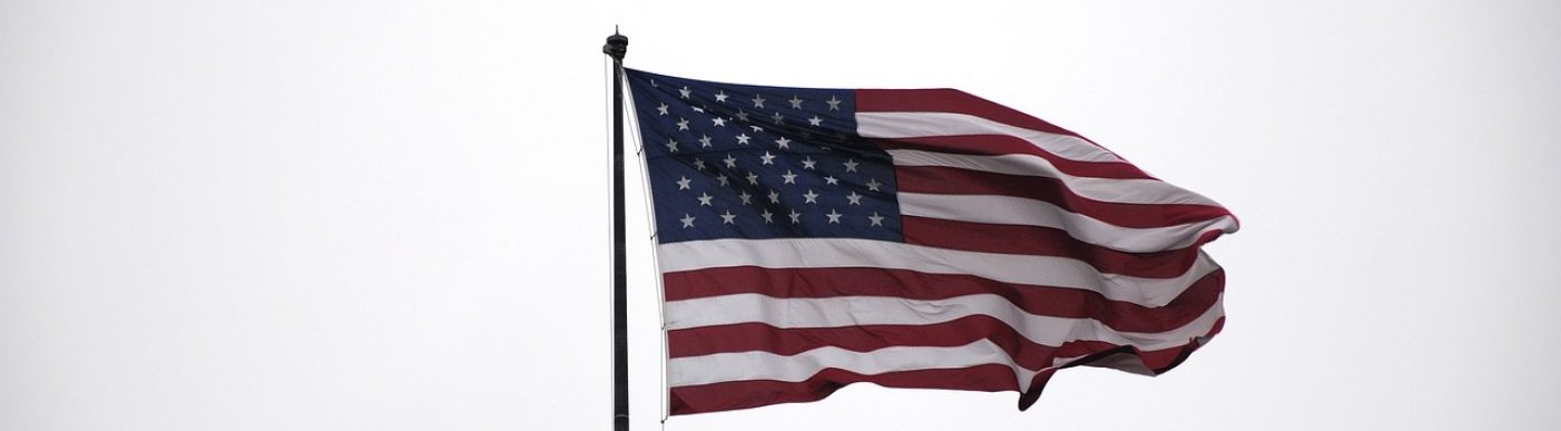 Image of the US flag blowing in the wind